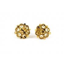 22ct 916 Yellow Gold Round Flower Small Kids Baby Stud Earrings SE110