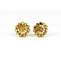 22ct 916 Yellow Gold Round Flower Small Kids Baby Stud Earrings SE112