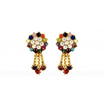 22CT 916 Yellow Gold Kids Dangle Multicolour Stud Tops Earrings CZ SE120