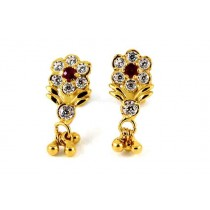 22CT 916 Yellow Gold Kids Tops Dangle Earring with white and Ruby Pink CZ SE122
