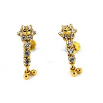 22CT 916 Yellow Gold Kids Tops Dangle Earring with white CZ SE124