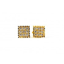 22ct 916 Yellow Gold Square Small Kids Baby Stud Earrings with CZ Stones SE165