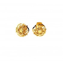 22ct 916 Yellow Gold Small Triangle Flower Kids Stud Tops Earrings SE201