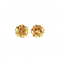 22ct 916 Yellow Gold Small Round Flower Kids Stud Tops Earrings SE203