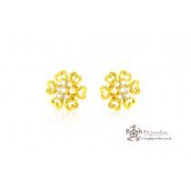 22ct 916 Yellow Gold Star Earrings CZ SE32