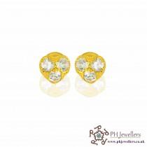 22ct 916 Yellow Gold Heart Earring CZ SE42