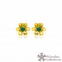 22ct 916 Yellow Gold Emerald Green Flower Earring CZ