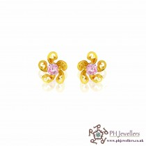 22ct 916 Yellow Gold Baby Pink Flower Earring CZ  SE67