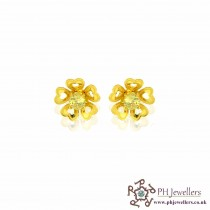 22ct 916 Yellow Gold Yellow Flower earring CZ