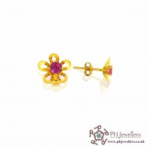 22ct 916 Yellow Gold Pink Flower earring CZ