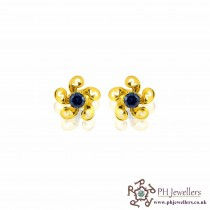 22ct 916 Yellow Gold Blue Flower earring CZ