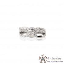 925 Sterling Silver Wedding Band Set Rhodium Ring CZ SIWBS1