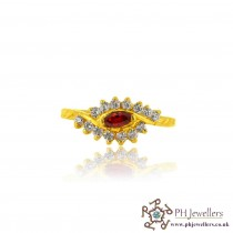 22ct 916 Yellow Gold Hallmark Garnet Ring CZ Size L 1/2 SR124