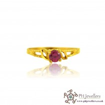 22ct 916 Yellow Gold Hallmark Round Ruby Ring CZ Size L 1/2 SR137