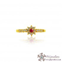 22ct 916 Hallmark Yellow Gold Pink and White Stone Ring Size N CZ SR156