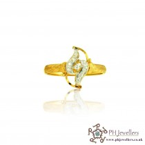 22ct  Yellow Gold Ring with Rhodium with CZ Stones Size O  SR160