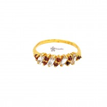 22ct 916 Indian Yellow Gold Ring with Garnet and White CZ Size M SR203