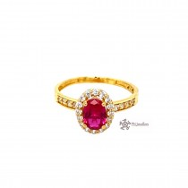 22ct 916 Indian Yellow Gold Ruby Red and white Solitaire RingCZ Size O1/2 SR204