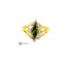 22ct 916 Indian Yellow Gold Marquis Ring with Green and White CZ Size L SR211