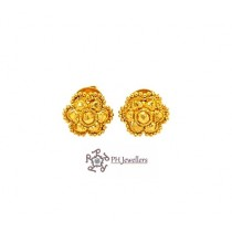22ct 916 Hallmark Yellow Gold Solid Flower Round Tops Earrings TE114