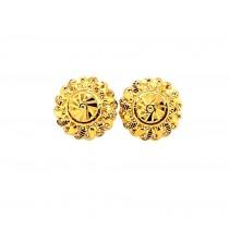 22ct 916  Yellow Gold Shiny Round Light Big Tops Earrings  TE118