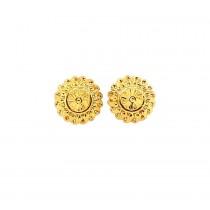 22ct 916  Yellow Gold Shiny Round Light Big Tops Earrings  TE119