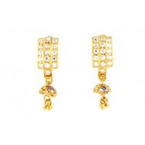 22ct 916 Yellow Gold Tops Dangle Earrings with White CZ TE83