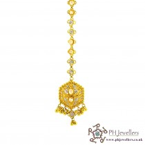 22ct 916 Hallmark Yellow Gold Headpiece Polki Rhodium Tikka TI4