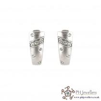 18CT 750 Hallmark White Gold Clip On Earrings CZ WGE2