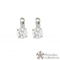 18CT 750 Hallmark White Gold Clip On Earrings CZ WGE4