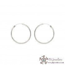 18CT 750 Hallmark White Gold Hoops/Bali Earrings WGE5
