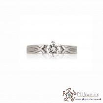 18CT 750 Hallmark White Gold Engagement Size J Ring CZ WGR6