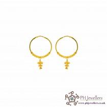 22 CT 916 Hallmark Yellow Gold Hoop/Bali Earring BE15