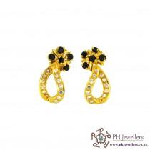 22ct 916 Hallmark Yellow Gold Clip On Earrings Black & White CZ CE11