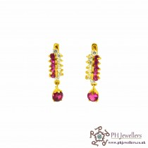 22ct 916 Indian Yellow Gold Clip On Earrings Ruby Red  CZ CE2