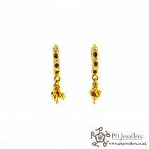 22ct 916 Hallmark Yellow Gold Clip On Earrings Garnet & White CZ CE6