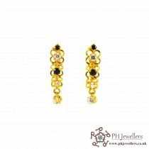 22ct 916 Hallmark Yellow Gold Clip On Earrings Black & White CZ CE7