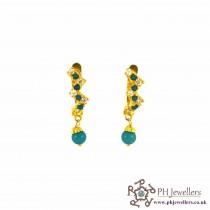 22ct 916 Hallmark Yellow Gold Clip On Earrings Firoza & White CZ CE8
