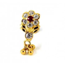 22ct 916 Yellow Gold Dangle Screw Nose Stud with White and Pink CZ  NSS49