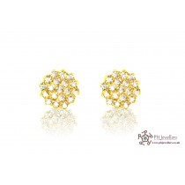 22ct 916 Indian Yellow Gold Stud Earring Screw CZ SE3