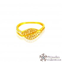 22ct 916 Indian Yellow Gold Ring with Rhodium CZ Stones Size O SR18