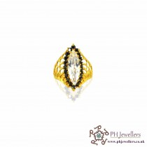 22ct 916 Hallmark Yellow Gold Marquise Ring with Black and White CZ Stones Size Q SR37
