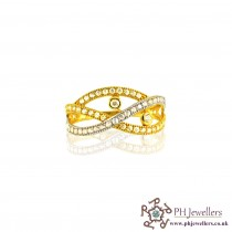22ct 916 Indian Yellow Gold Ring with Rhodium CZ Stones Size Q  SR40