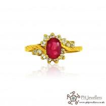 22ct 916 Hallmark Yellow Gold Oval Ruby Size O,P Ring CZ SR95