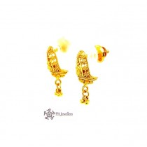 22ct 916 Hallmark Asian Yellow Gold Solid Curved Dangle Tops Earrings TE115