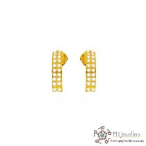 22ct 916 Yellow Gold Half Round Earrings Tops with CZ TE30
